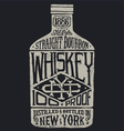 Whiskey bottle with vintage typography vector