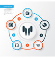 audio icons set collection of earmuff cd vector image