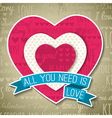 beige background with red valentine heart vector image