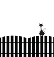 cat on the fence silhouette vector image
