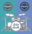 Drum Kit n Instructor Performer Stamps vector image