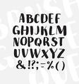 Hand drawn alphabet written with brush pen vector image