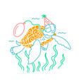 icon of a happy turtle vector image