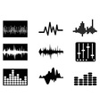 music soundwave icons set vector image
