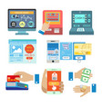 online shopping banking cash payment or atm vector image