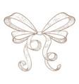 ribbon bow hand drawn sketch vector image