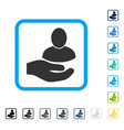 user support hand framed icon vector image