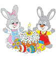 Easter cake and painted eggs vector image vector image