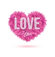 Pink heart made of leaves with Love you sign vector image