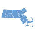 State map of Massachusetts by counties vector image vector image