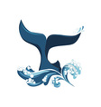 whale tail and waves vector image