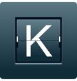 Letter K from mechanical scoreboard vector image