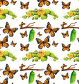 Seamless background with butterflies and leaves vector image