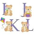 Teddy bear alphabet i j k l with vector image