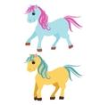Cute cartoon pony little horses isolated on white vector image