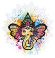 hindu lord ganesha over mandala pattern vector image