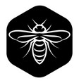 Template for emblem with white bee on black vector image