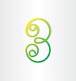 number 3 or letter b green symbol vector image