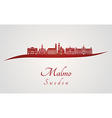 Malmo skyline in red vector image