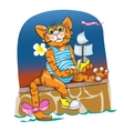 The ridiculous cat plays with the toy ship vector image