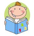 Happy Boy Reading A Book vector image vector image