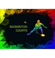 Sports poster with abstract badminton player vector image