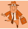 cartoon cheerful man in a suit and a hat vector image