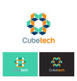 cube technology 3d logo vector image