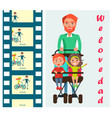 father carrying kids on two seat stroller vector image