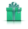 Green gift box with ribbon vector image