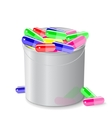 bucket full of capsules and pills vector image vector image