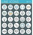 Technology line icons set web design elements vector image