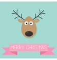 Cute cartoon deer with horn Merry christmas vector image