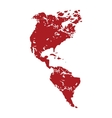 Red grunge continent America logo vector image