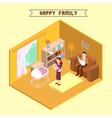 Isometric Interior Happy Family Isometric People vector image
