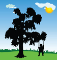 baby on a swing with tree silhouette vector image
