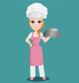 chef woman in pink apron and cook hat holding vector image
