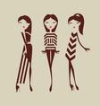 fashion girls posing isolated on light background vector image