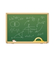green chalkboard with mathematics symbols for vector image