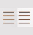 set of light and dark wood shelves vector image