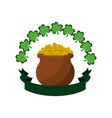 many coins inside of flowerpot and clovers vector image