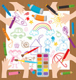 children draw at the desk vector image
