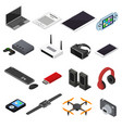 technology devices color icons isometric view vector image