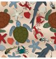 Sea life seamless pattern cartoon art vector image