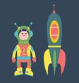 Friendly alien and rocket vector image vector image