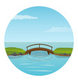 small wooden bridge vector image vector image