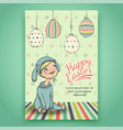 beautiful easter card with baby in bunny costume vector image
