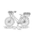 Bicycle with a basket of flowers vector image