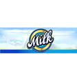 milk splash vined design horizontal banner with vector image