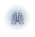 Human rib cage icon comics style vector image